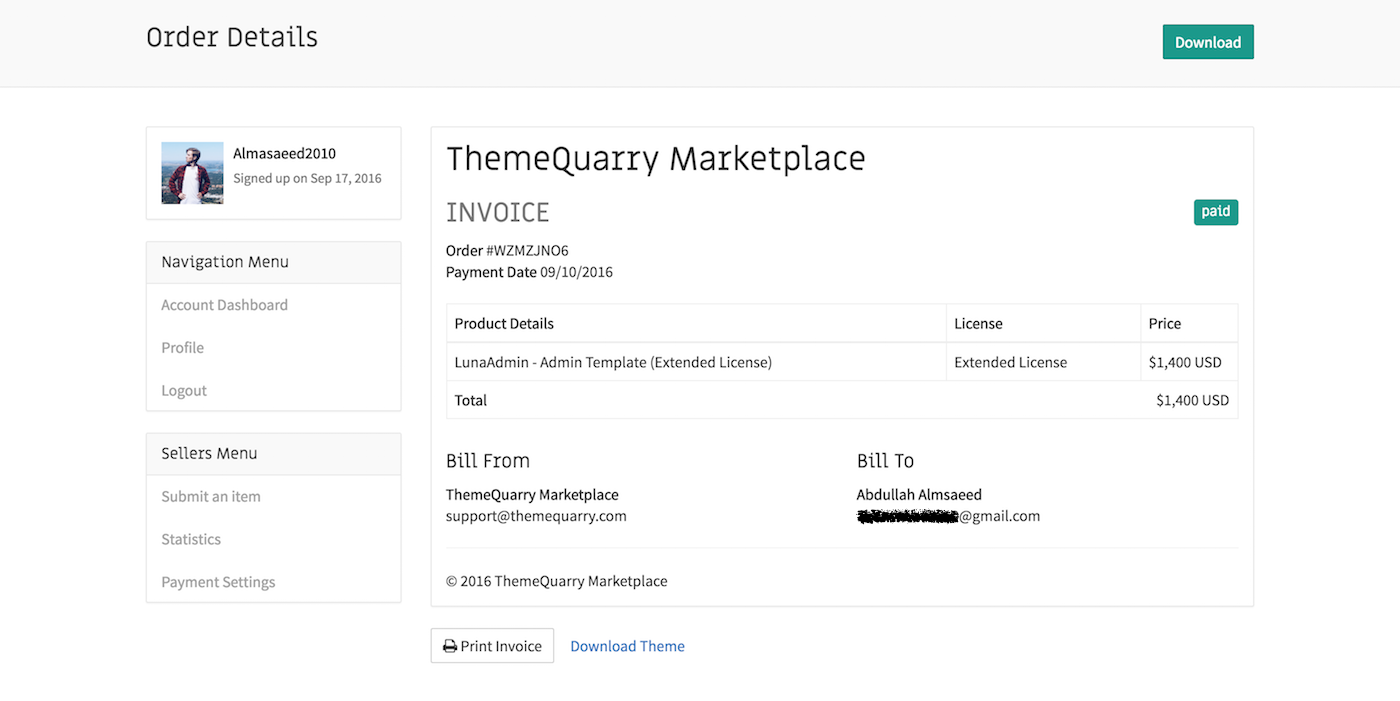 ThemeQuarry Invoice Page